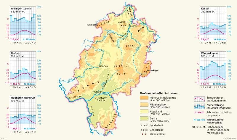 Hessen | Klimastationen und Großlandschaften | Hessen - Landwirtschaft und Klima | Karte 19/4