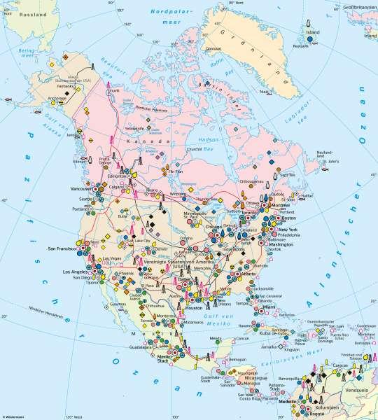 Nord- und Mittelamerika | Wirtschaft (Übersicht) | Nord- und Mittelamerika - Wirtschaft | Karte 152/1