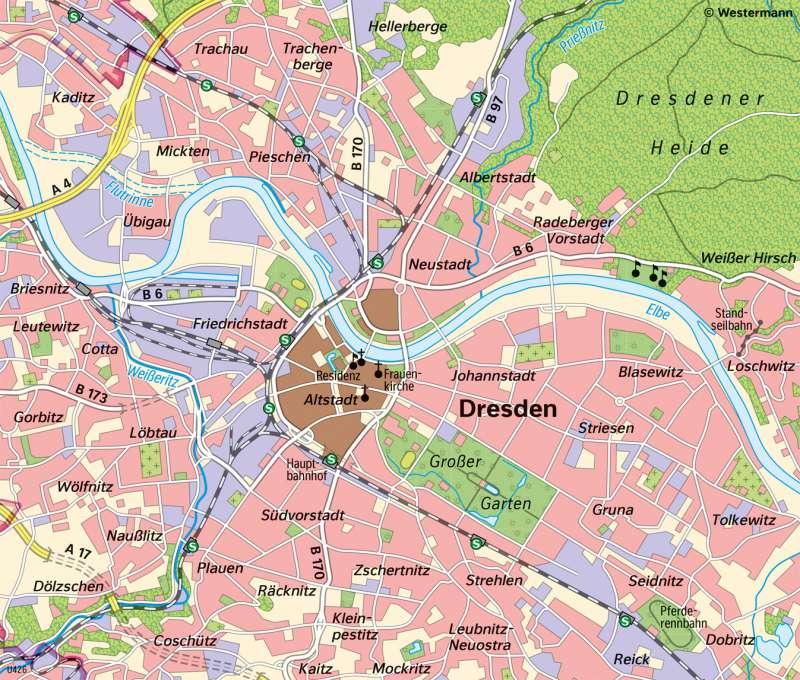 | Unterschiedliche Maßstäbe am Beispiel von Dresden | Dresden - Vom Bild zur Karte/Maßstab und Entfernungen | Karte 9/4