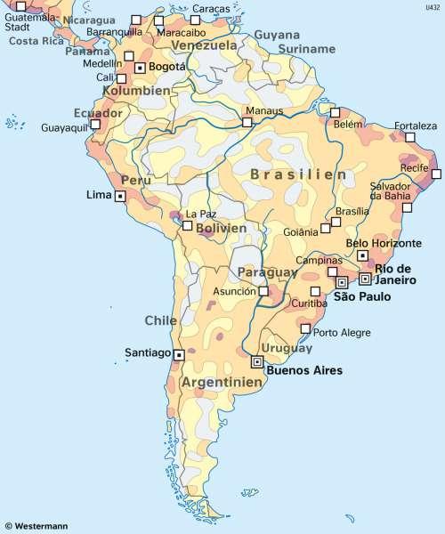 Südamerika | Bevölkerungsverteilung | Südamerika - Staaten und Bevölkerung | Karte 158/2