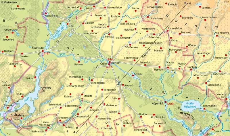 BerlinerUrstromtal | Besiedlung | Brandenburg und Berlin - Landschaftsentwicklung | Karte 27/2