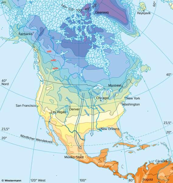 Nord- und Mittelamerika | TemperaturenimJanuar | Nord- und Mittelamerika - Landwirtschaft und Klima | Karte 151/3