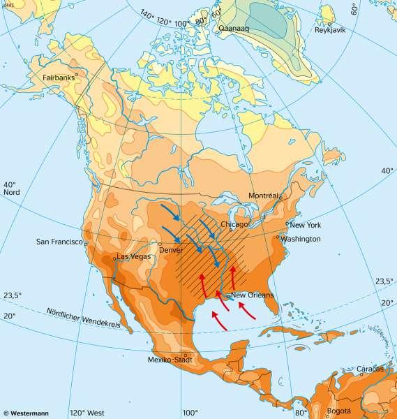 Nord- und Mittelamerika | TemperaturenimJuli | Nord- und Mittelamerika - Landwirtschaft und Klima | Karte 151/4