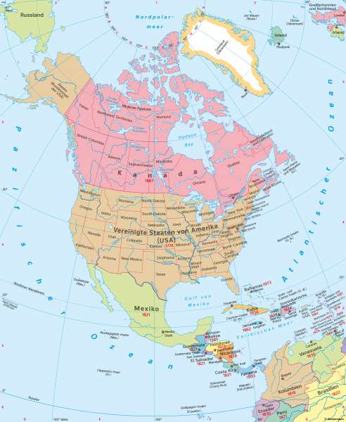 Nord- und Mittelamerika | Politische Übersicht | Nord- und Mittelamerika - Staaten und Bevölkerung | Karte 146/1