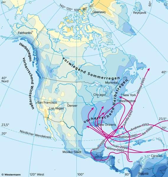 Nord- und Mittelamerika | NiederschlägeimJahr | Nord- und Mittelamerika - Landwirtschaft und Klima | Karte 151/6