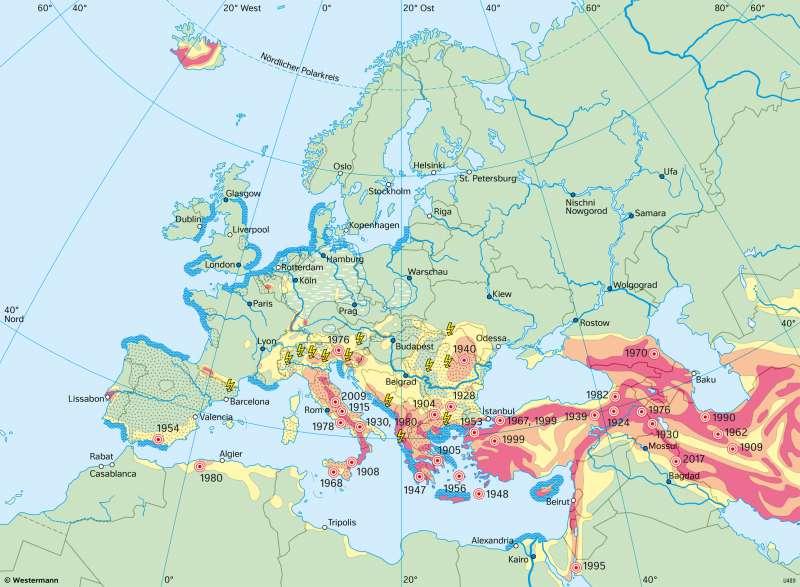 Europa | Naturgefahren | Europa - Formende Kräfte | Karte 73/5