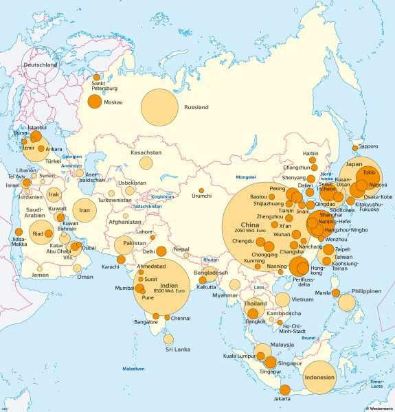 Asien | Wirtschaftsleistung verschiedener Räume | Asien - Wirtschaft | Karte 104/1