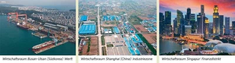 | Wirtschaftsraum Busan-Ulsan (Südkorea): Werft/Wirtschaftsraum Shanghai (China): Industriezone/Wirtschaftsraum Singapur: Finanzdistrikt | Asien - Wirtschaft | Karte 104/1
