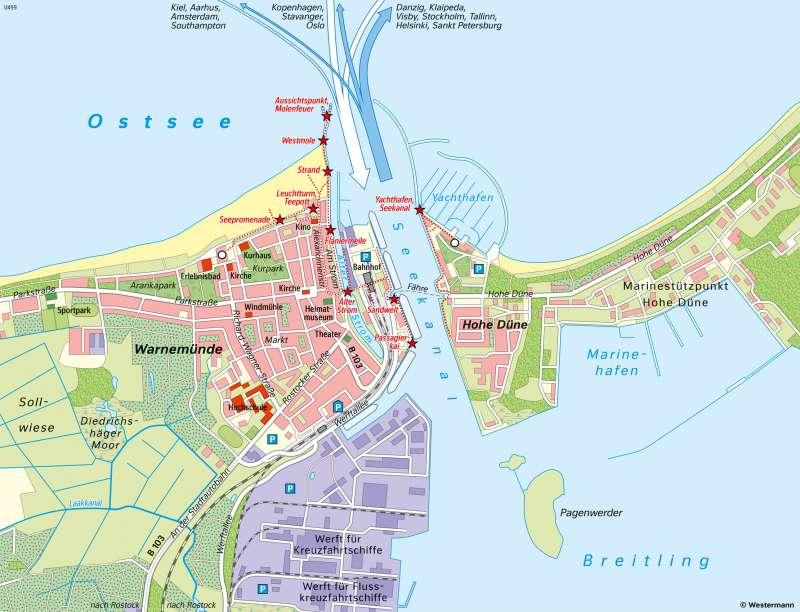 Rostock-Warnemünde | Seebad mit Kreuzfahrthafen | Schwerin und Rostock - Stadtentwicklung | Karte 21/4
