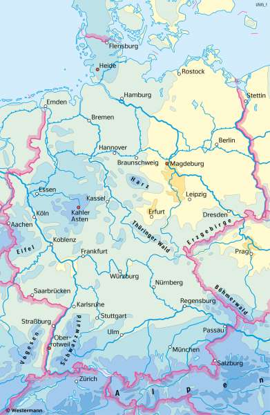Deutschland | NiederschlägeimJahr | Deutschland - Klima | Karte 39/3