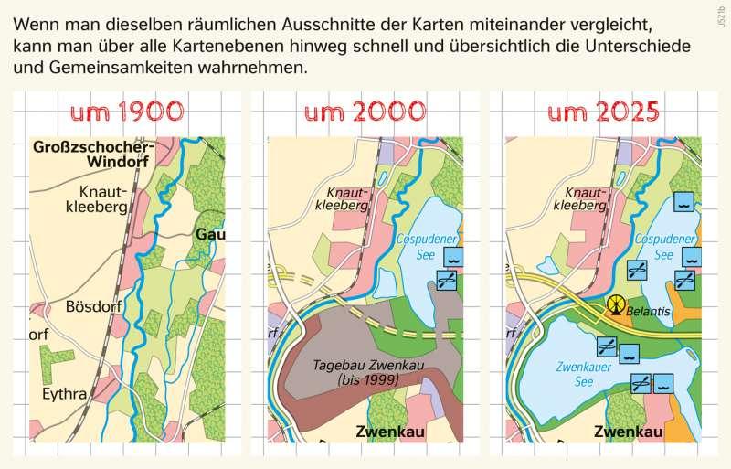 | Karten mit der Fenstermethode vergleichen | Südraum Leipzig - Den Wandel von Räumen beschreiben | Karte 29/6
