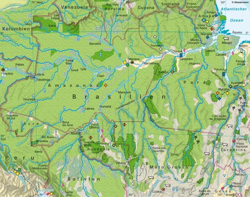 Amazonien | Eingriffe in den tropischen Regenwald | Südamerika - Wirtschaft und Umwelt | Karte 163/2