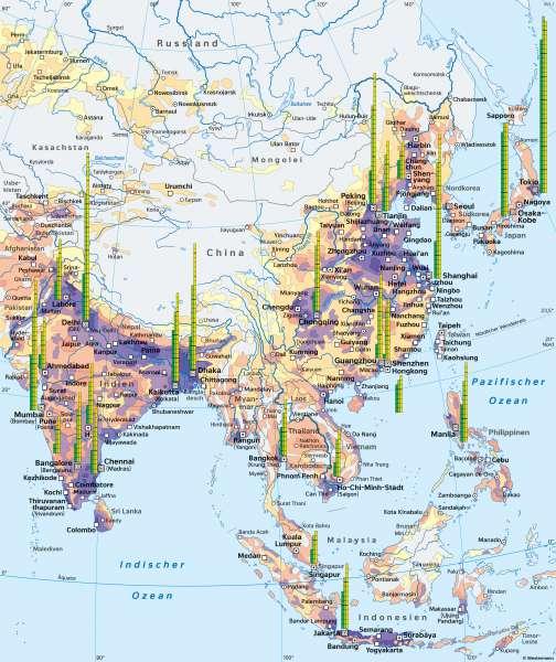 Südasien, Ostasien und Südostasien | Bevölkerungsschwerpunkt der Erde | Asien - Verstädterung | Karte 107/2
