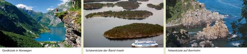 | Fjordküste in Norwegen/Schärenküste der Åland-Inseln/Felsenküste auf Bornholm | Mecklenburg-Vorpommern - Naturraum und Ostsee | Karte 15/3