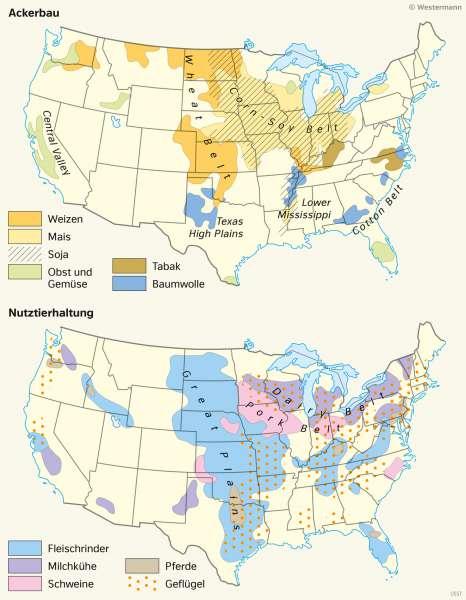 USA | Landwirtschaftsgürtel | Nord- und Mittelamerika - Landwirtschaft und Klima | Karte 151/5