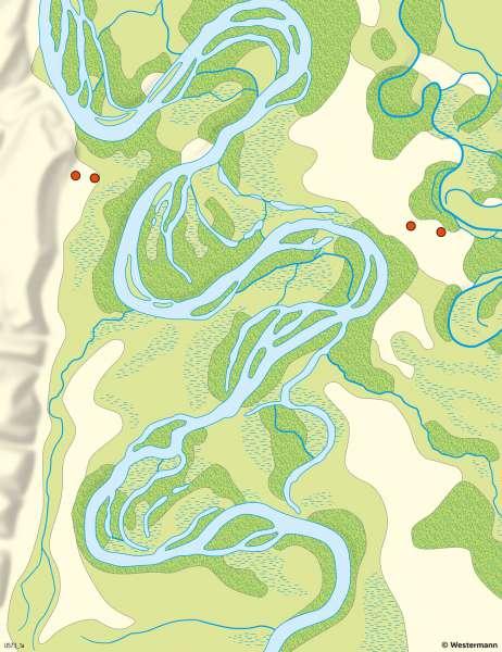 Kühkopf | Auenlandschaft an Altrheinbögen | Kühkopf - Tourismus und Naturschutz | Karte 17/2