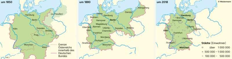 | Entwicklung der Großstädte in Deutschland | Geschichte - Deutschland im 19.Jahrhundert | Karte 209/4