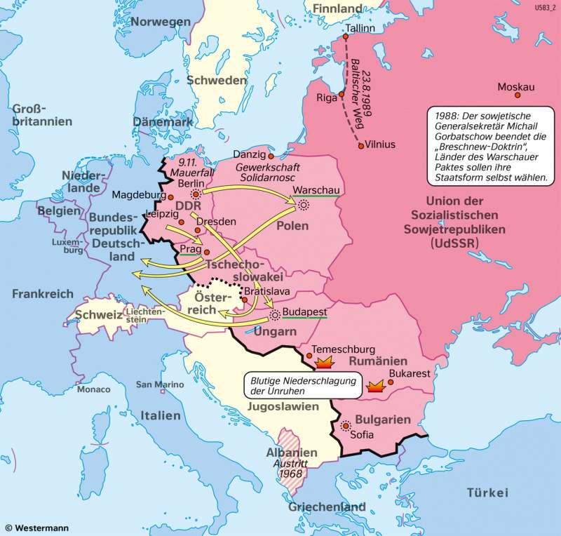 Europa | Auflösung des Ostblocks 1989 | Geschichte - Europa nach dem Kalten Krieg | Karte 220/1