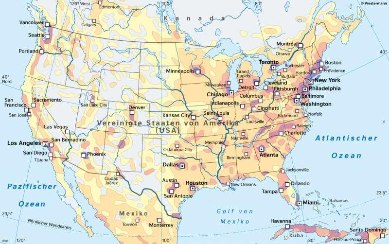 VereinigteStaaten vonAmerika (USA) | Bevölkerungsverteilung | Nord- und Mittelamerika - Staaten und Bevölkerung | Karte 147/2
