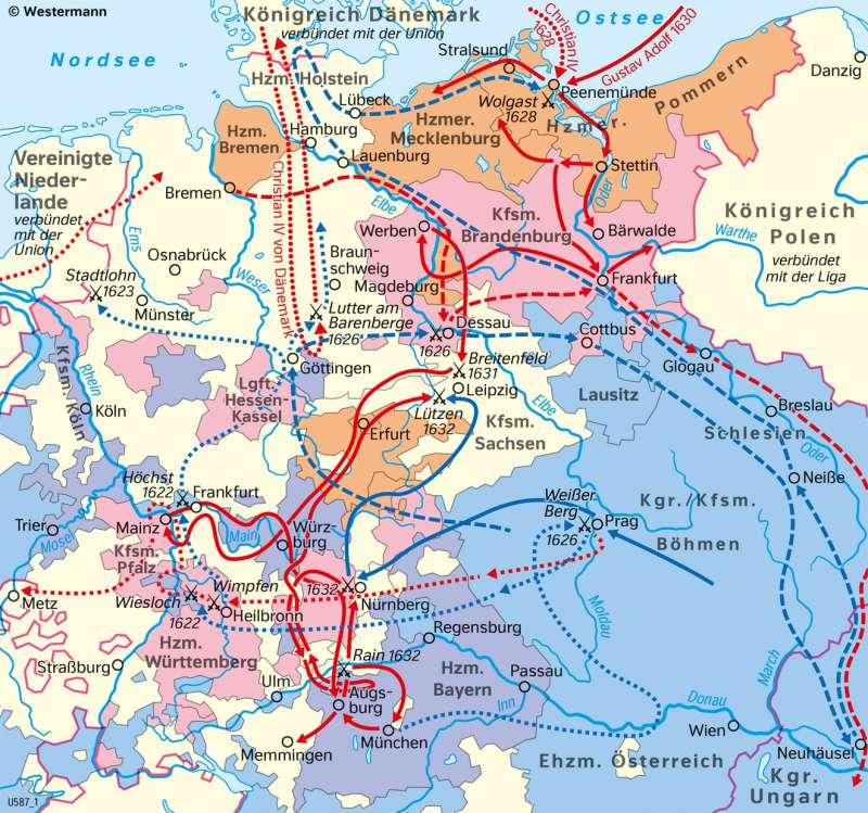 Mitteleuropa | Dreißigjähriger Krieg (1618–1648) | Geschichte - Reformation und Dreißigjähriger Krieg | Karte 204/2