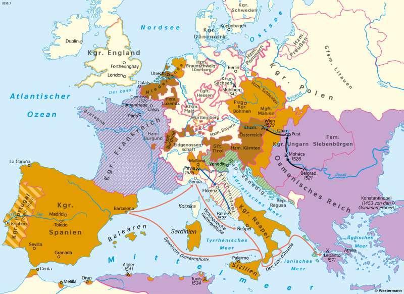 | Das Reich Karls ?. – Habsburgische Vormacht in Europa | Geschichte - Vom Spätmittelalter zur Frühen Neuzeit | Karte 200/2