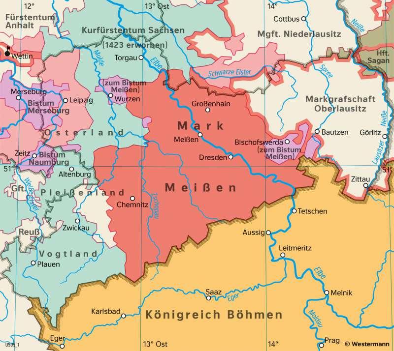 Sachsen   Fürstentümer im 15.Jahrhundert   Sachsen - Geschichte   Karte 26/1
