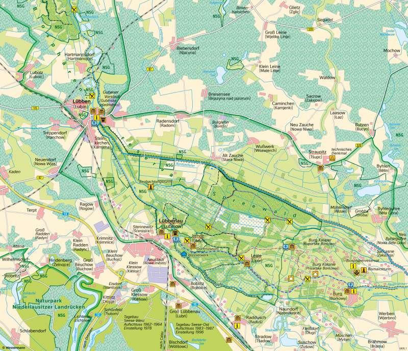 Karte Spreewald Lubbenau.Diercke Weltatlas Kartenansicht Spreewald Landnutzung