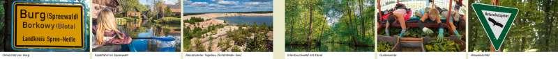Spreewald | Ortsschild von Burg/Kajakfahrt im Spreewald/Rekultivierter Tagebau (Schönfelder See)/Erlenbruchwald mit Kanal/Gurkenernte/Hinweisschild | Spreewald - Eine Karte lesen und auswerten | Karte 10/1