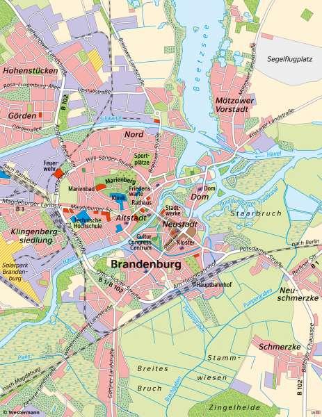   Unterschiedliche Maßstäbe am Beispiel von Brandenburg an der Havel   Brandenburg an der Havel - Maßstab   Karte 8/1