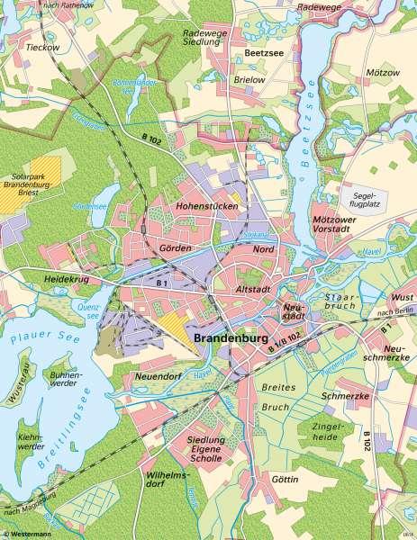 | Unterschiedliche Maßstäbe am Beispiel von Brandenburg an der Havel | Brandenburg an der Havel - Maßstab | Karte 9/1
