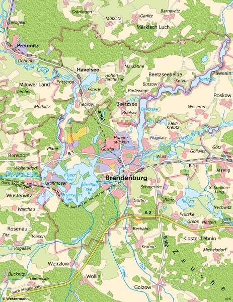   Unterschiedliche Maßstäbe am Beispiel von Brandenburg an der Havel   Brandenburg an der Havel - Maßstab   Karte 9/1