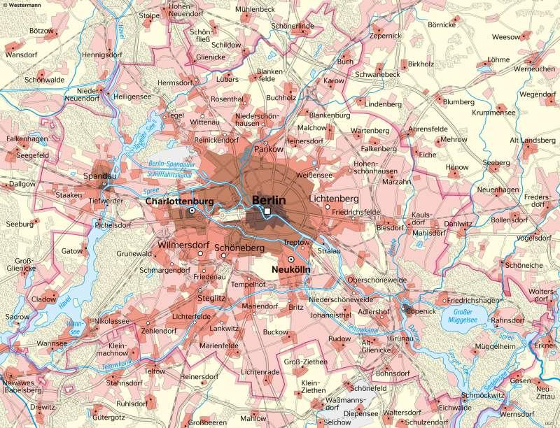 Berlin   Stadtentwicklungseit 1840   Brandenburg und Berlin - Landschaftsentwicklung   Karte 27/3