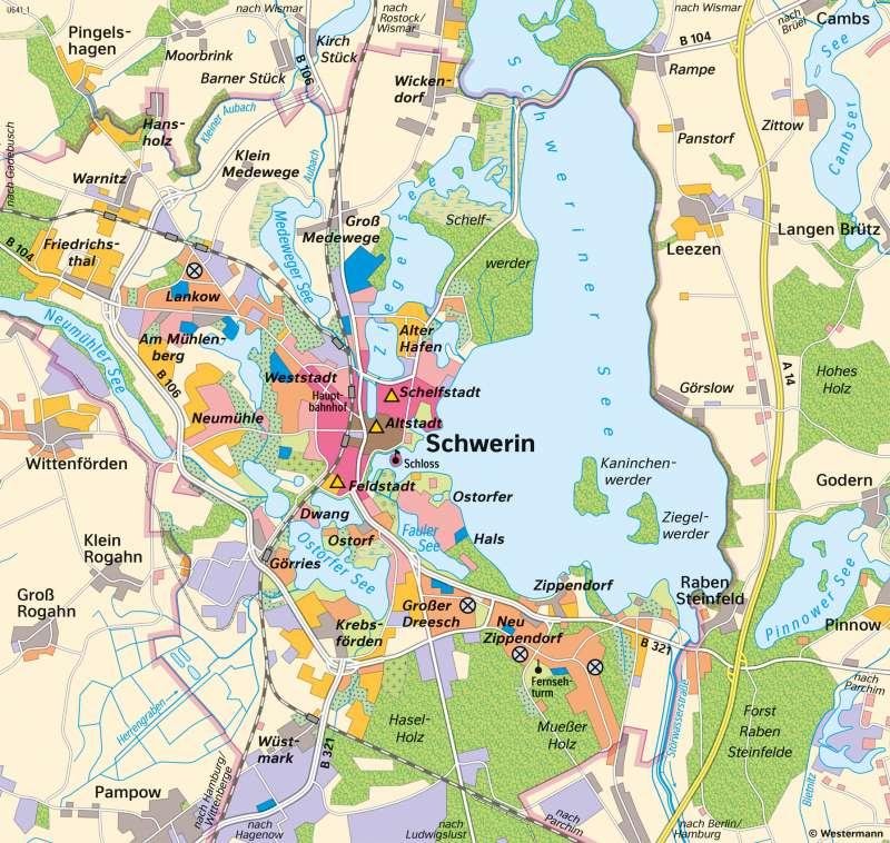 Diercke Weltatlas Kartenansicht Schwerin Stadtentwicklung