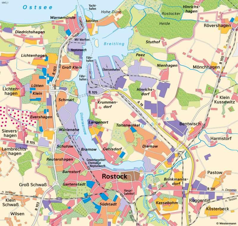 Diercke Weltatlas Kartenansicht Rostock Stadtentwicklung