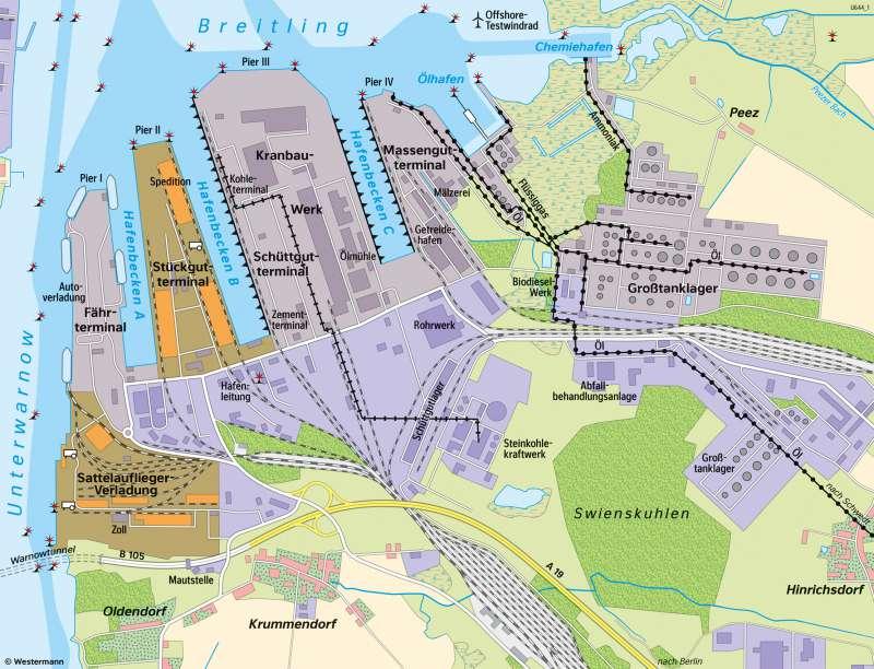 Rostock   Überseehafen   Mecklenburg-Vorpommern - Wirtschaft und Verkehr   Karte 19/4