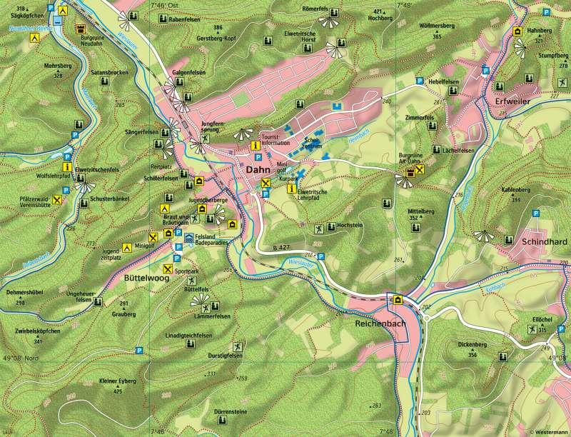 DahnerFelsenland   Vielfältige Tourismusregion   DahnerFelsenland - Tourismus und Naturschutz   Karte 17/3