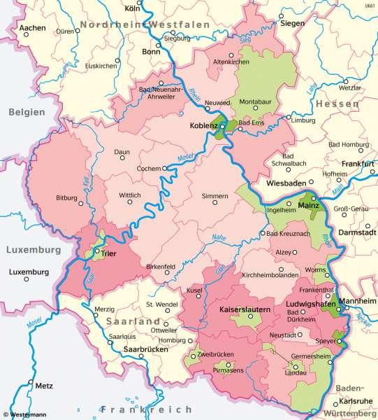 Rheinland-Pfalz | Wirtschaftsleistung | Rheinland-Pfalz - Wirtschaft und Verkehr | Karte 23/2