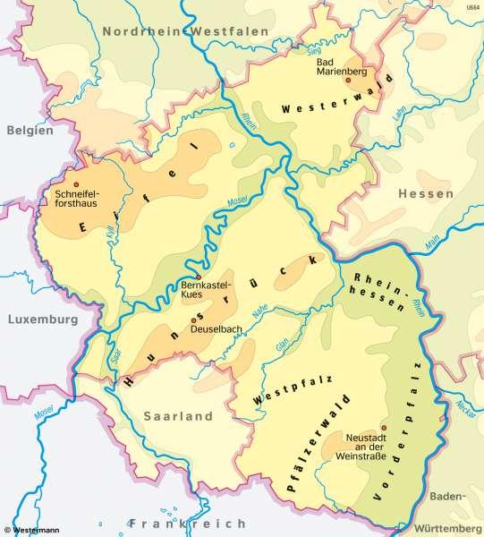Rheinland-Pfalz | Großlandschaften | Rheinland-Pfalz - Klima und Landwirtschaft | Karte 19/5