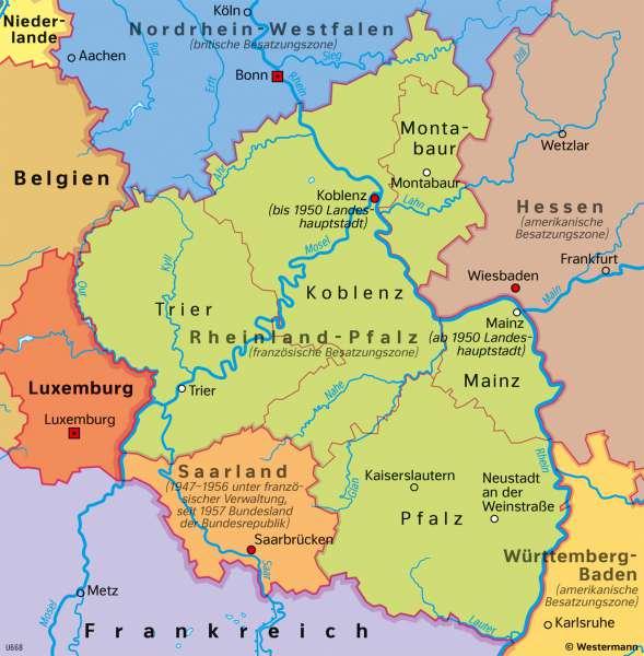 Rheinland-Pfalz | Landesgründung 1946 | Rheinland-Pfalz - Territorial- und Stadtentwicklung | Karte 27/4