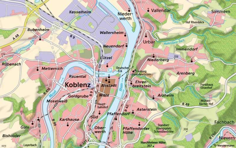 Koblenz | Stadtgebiet | Koblenz - Karte, Luftbild und Maßstab | Karte 12/3