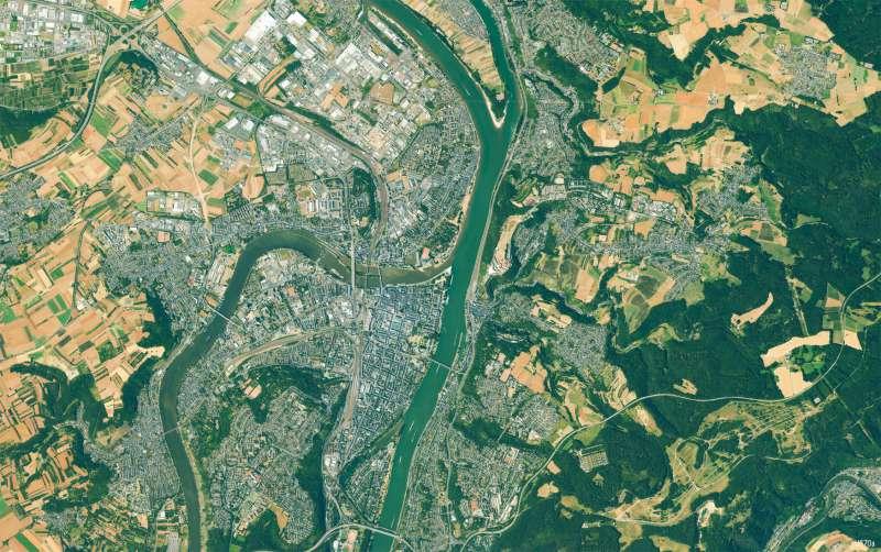 Koblenz   Stadtgebiet   Koblenz - Karte, Luftbild und Maßstab   Karte 13/3
