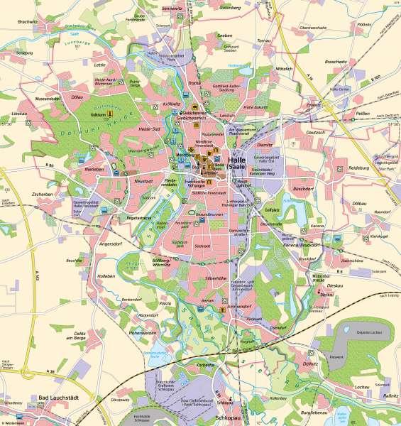 Halle(Saale) | Freizeit und Erholung | Halle (Saale) - Eine Karte lesen und auswerten | Karte 10/1