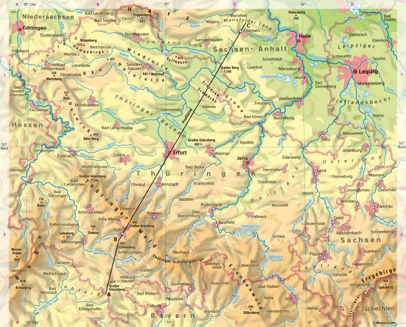 Geologische Karte Thüringen.Diercke Weltatlas Kartenansicht Thüringen Physische übersicht