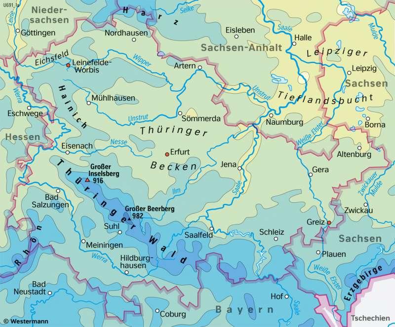 Thüringen | TemperaturenimWinterhalbjahr | Thüringen - Landwirtschaft und Klima | Karte 17/4