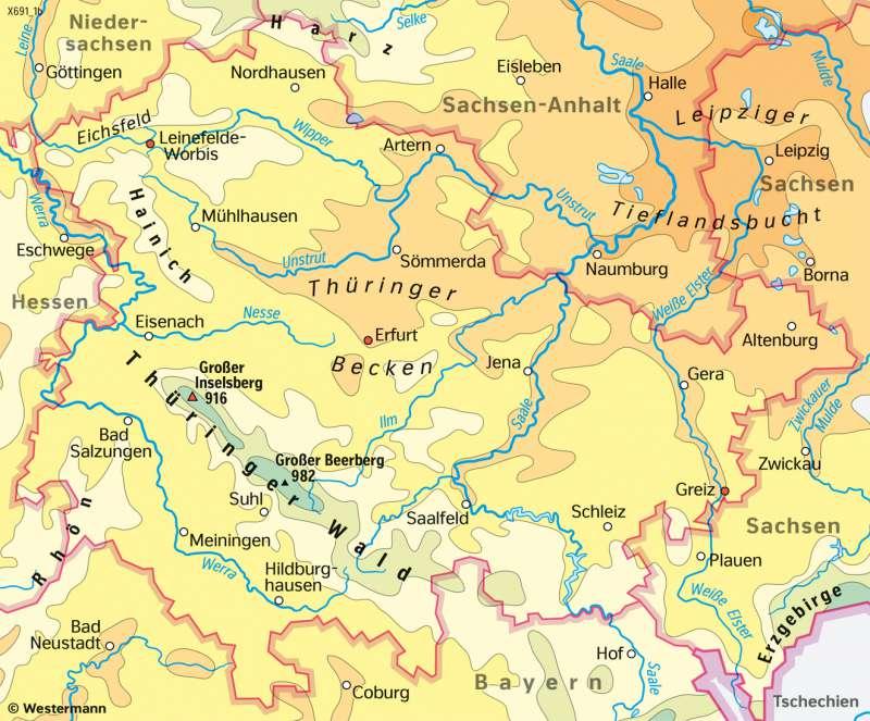 Thüringen | TemperaturenimSommerhalbjahr | Thüringen - Landwirtschaft und Klima | Karte 17/3