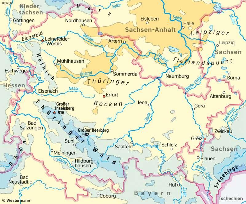 Thüringen | NiederschlägeimSommerhalbjahr | Thüringen - Landwirtschaft und Klima | Karte 17/5