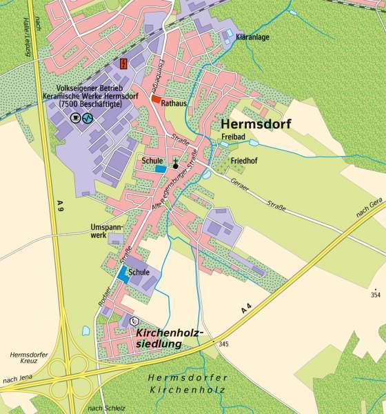 Hermsdorf | Wirtschaftsstandortam Autobahnkreuz | Thüringen - Wirtschaft | Karte 19/3