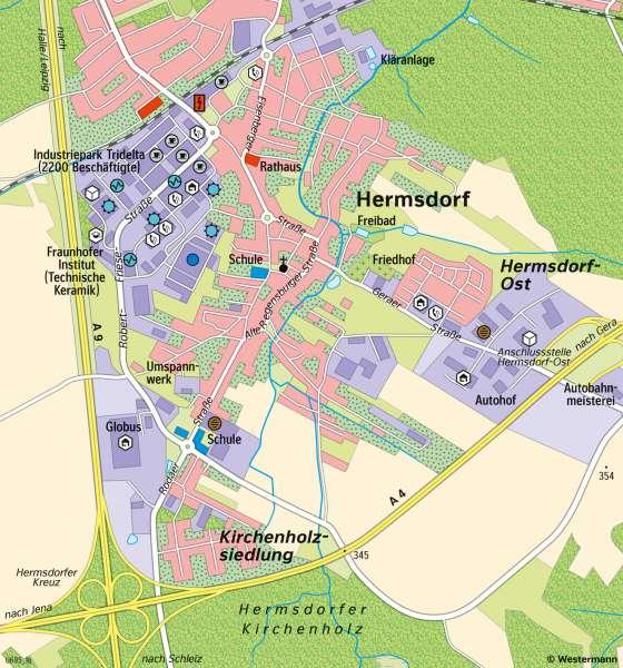 Hermsdorf   Wirtschaftsstandortam Autobahnkreuz   Thüringen - Wirtschaft   Karte 19/3