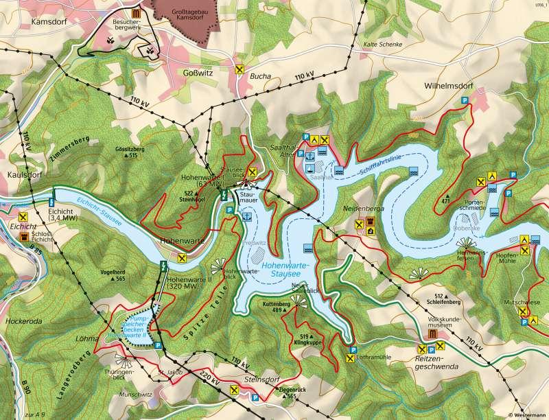 TalsperreHohenwarte | EnergieversorgungundTourismus | Thüringen - Umwelt und Energie | Karte 25/4