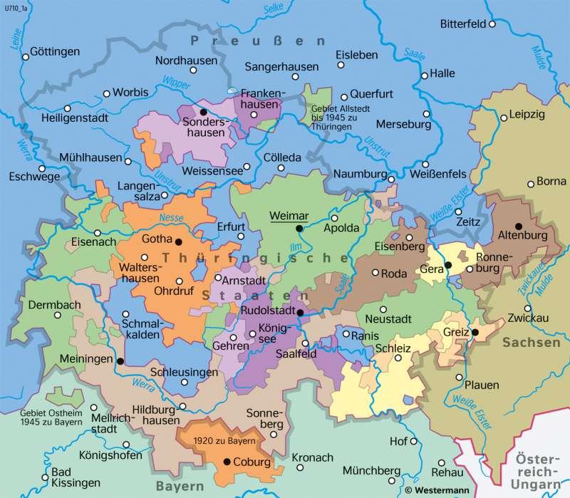 | Thüringische Staaten1871–1918 | Thüringen - Geschichte und Verwaltung | Karte 26/1